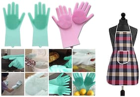 Shrines Silicone scrubbing Hand Gloves for Kitchen Dish Washing, pet Grooming, car Washing, Bathroom Cleaning use  with 1 Kitchen Apron for Women