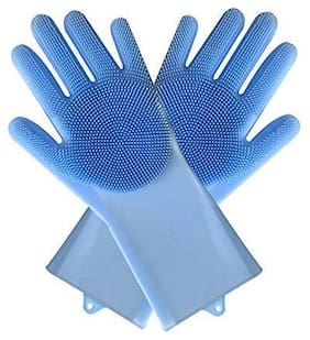 Shrines Silicone Gloves with Wash Scrubber Non-Slip Magic Gloves for Household Cleaning Great for Protecting Hands in Dishwashing Car Washing Kitchen Bathroom Cleaning Lavender (Assorted Colors)