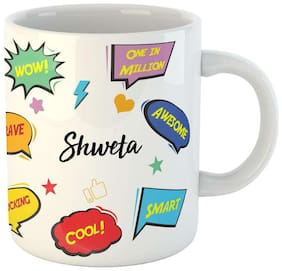 Shweta Name Printed Ceramic Coffee Mug. Best Gift For Birthday by Impresion