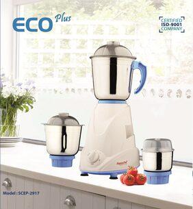 SignoraCare Eco Plus 500 W Mixer Grinder (White & Blue/3 Jar)