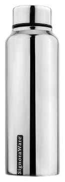 Signoraware Stainless Steel Silver Water Bottle ( 1000 ml , Set of 1 )