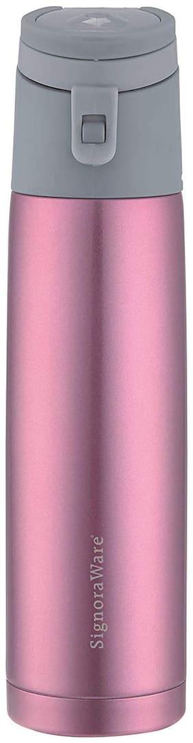 Signoraware Stainless Steel Pink Water Bottle ( 750 ml , Set of 1 )
