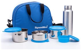 Signoraware Sling Steel Lunch Box with Steel Bottle- Set Of 1