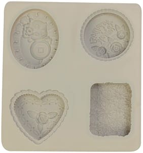 Silicon 4 Cavity, Heart Flower Shape,Non Sticky Mold for soap,Chocolate, Fondant Sugar bakeware Mold