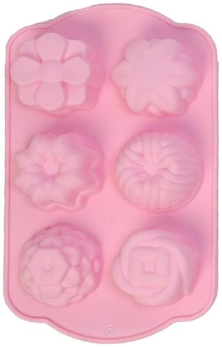 Silicon 6 Cavity, Flower Shape, Non Sticky Mold for soap,Chocolate, Fondant Sugar bakeware Mold