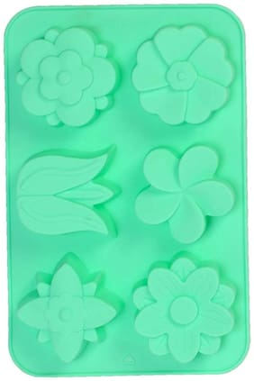 Silicon 6 Cavity, Big Flower Shape, Non Sticky Mold for soap,Chocolate, Fondant Sugar bakeware Mold