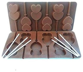 Silicon chocolate or cake lollipop mold , 6 cavities , heart shape with 6 lollipop sticks