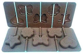 Silicon chocolate or cake lollipop mold , 6 cavities , balloon shape with 6 lollipop sticks