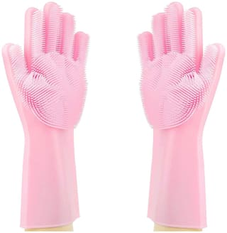 Silicone Cleaning Reusable Heat Resistant Pair Magic Brush Gloves Scrubber for Kitchen Dishwashing Dish Car Wash Pet Bathroom Household
