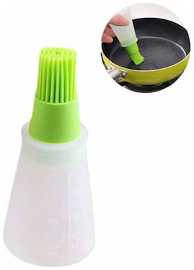 Silicone Cooking Oil Bottle with Basting Brush | Chef's Bottle Brush (1Pc) Multi Color