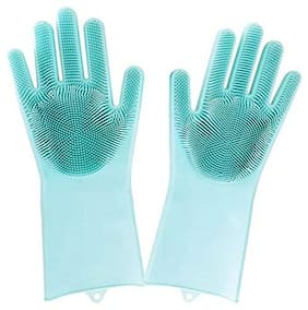 Silicone Glove Resuable Household Scrubber Scald Dishwashing Gloves 2pcs/Pair Magic Washing Brush Kitchen Bed Bathroom Cleaning Tools