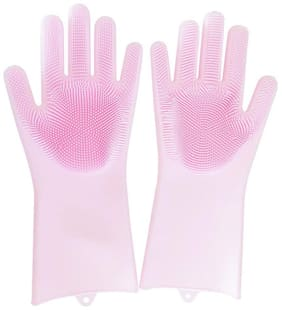 Silicone Gloves for Cleaning Scrubber Reusable Heat Resistant (1 Pair)