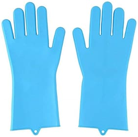 Silicone Heat Resistant Rubber Dish Washing Gloves with Wash Scrubber Wet and Dry Disposable Glove Set  (Free Size Pack of 2)
