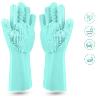 Silicone Non-Slip, Dishwashing and Pet Grooming, Magic Latex Scrubbing Gloves for Household Cleaning Great for Protecting Hands (Standard Size, Multicolour)