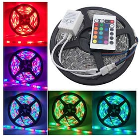 SILVOSWAN Diwali Light 5 Meter RGB LED Strip Light With Remote And Adapter for Diwali, Decoration (3528) Non-Waterproof