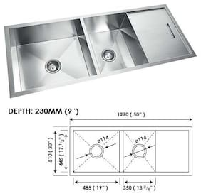 SINCORE KITCHEN SINK STALLION LARGE 50 in X 20 in X 9 in MATT DOUBLE BOWL WITH DRAINBOARD HAND CRAFTED 304 GRADE STAINLESS STEEL