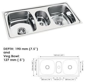 SINCORE KITCHEN SINK SUNDAE MEDIUM 42 in X 20 in X 7.5 in GLOSSY FINISH TRIPLE BOWL 304 GRADE STAINLESS STEEL LIFETIME GUARANTEE