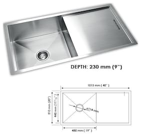 SINCORE KITCHEN SINK SOLITAIRE MEDIUM 40 in X 20 in X 9 in MATT FINISH SINGLE BOWL WITH DRAINBOARD HAND CRAFTED