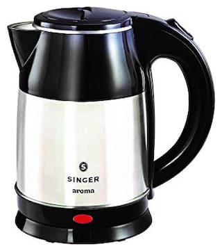 Singer Aroma 1500 Watts 1.8 LTR Electric Kettle with Cordless Base & Overheat Protection (Black & Silver)