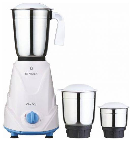 Singer CHEFFY 500 W Mixer Grinder   White , 3 Jars