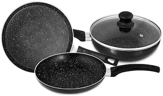 Singer Maxicook Graphite Induction Base Non Stick Cookware Set Including Tawa;Fry Pan And Kadai With Glass Lid