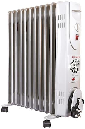 Singer OFR 11 FINS 2900 W Oil Filled Radiator Room Heater (White)