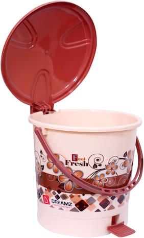 Singh Brothers 5 Ltr Dreamz Plastic Pedal Bin Dustbin Plastic Dustbin (Brown)