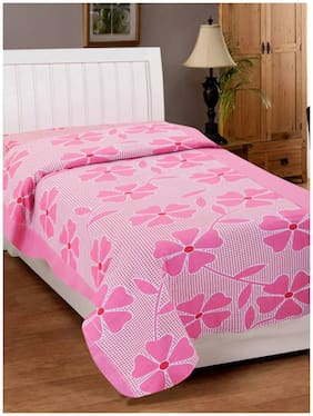 Shree Jee Cotton Abstract Single Size Bedsheet 104 TC ( 1 Bedsheet With 1 Pillow Covers , Pink )