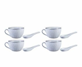 Single Handled Soup Bowl with Spoon Ceramic/Stoneware in White Bubble Handmade By Caffeine-Set of 4
