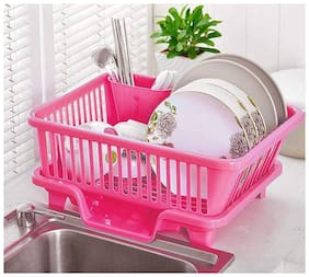 Sink Dish Drainer Drying Rack Washing Holder Basket Organizer with Drain Board and Utensil Cup (1Pc) MultiColor