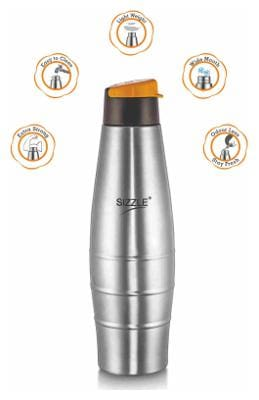 Sizzle Stainless Steel Orange Water Bottle ( 750 ml , Set of 1 )