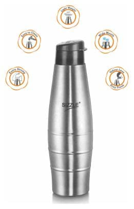 Sizzle 750 ml Stainless Steel Grey Water Bottles - Set of 3
