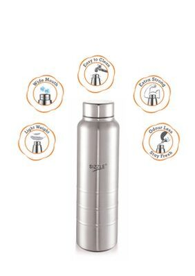 Sizzle New Design Unbreakable Stainless Steel Leak Proof Fridge Water Bottle, 1 pc, 1000 ml, Silver
