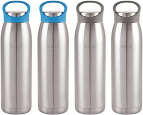 Sizzle Stainless Steel Blue & Black Water Bottle ( 900 ml , Set of 4 )