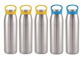 Sizzle Stainless Steel Blue & Yellow Water Bottle ( 900 ml , Set of 5 )