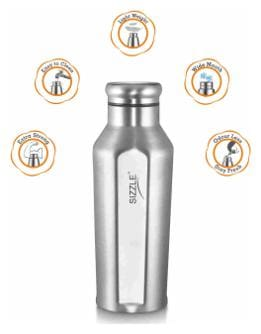 Sizzle 850 ml Stainless Steel Silver Water Bottles - Set of 2