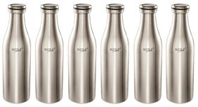 Sizzle Stainless Steel Fridge Water Bottle, 1000 ml, 6 pc, Silver