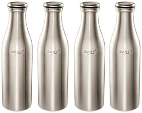 Sizzle 1000 ml Stainless Steel Silver Fridge Bottles - Set of 1