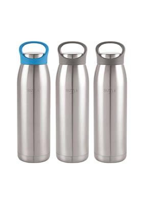 Sizzle Stainless Steel Blue & Black Water Bottle ( 900 ml , Set of 3 )