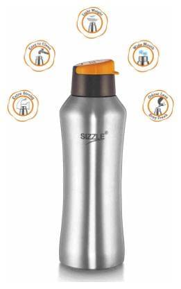 Sizzle 650 ml Stainless Steel Orange Fridge Bottles - Set of 2