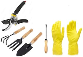SKY-ANGEL Gardening Combo Set--Rubber Gloves, Flower Cutter & 4 Pcs Garden Tools