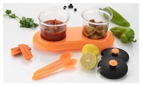 SKY ANGEL-KIAT-Dining Set - Multipurpose Mukhwas/Pickle/Masala/Spice Jar Set, 2 pcs jar Container Set-MultiColour