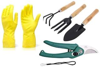 SKY ANGEL Kiat Gardening Tools - Reusable Rubber Gloves, Flower Cutter/Scissor & Garden Tool Wooden Handle (3 pcs-Hand Cultivator, Small Trowel, Garden Fork)