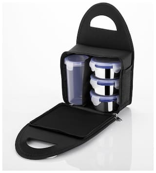 SKY-ANGEL 3 Containers Plastic & Stainless steel Lunch Box - Black