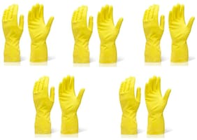 SKY ANGEL-RUBBER CLEANING GLOVES (LARGE)-(SET OF 5 PAIR)-YELLOW