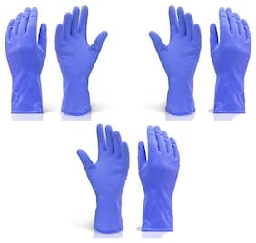 SKY ANGEL-RUBBER CLEANING GLOVES (3 PAIR SET)-BLUE