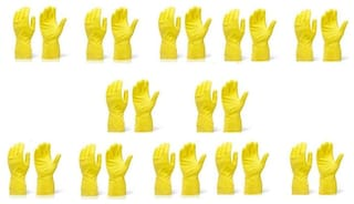 SKY ANGEL-RUBBER CLEANING GLOVES (LARGE)-(SET OF 12 PAIR)-YELLOW
