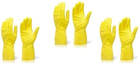 SKY ANGEL-RUBBER CLEANING GLOVES (3 PAIR SET)-YELLOW