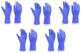 SKY ANGEL-RUBBER CLEANING GLOVES (LARGE)-(SET OF 5 PAIR)-BLUE