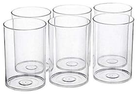 SKY HEART-Multi Purpose Unbreakable Drinking Glass Set of 6 Pieces;ABS Poly Carbonate Plastic;250 ml Capacity Each;Clear Glass (Unbreakable)